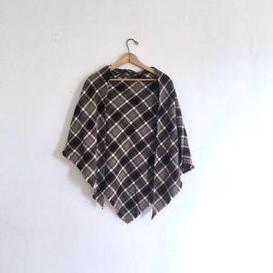 Gray Red Plaid Tartan Wool Triangle Shawl or Scarf